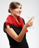 Beautiful smiling woman with wine glass . Royalty Free Stock Photography