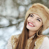 Beautiful smiling woman in winter Royalty Free Stock Photography