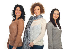 Beautiful smiling women in a line Royalty Free Stock Photos