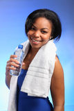 Beautiful smiling young black girl after fitness Stock Photos