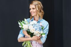 Florist holding bouquet Royalty Free Stock Photos