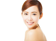 beautiful smiling young woman face Stock Photos