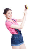 Beautiful smiling young woman taking selfie picture Stock Photo
