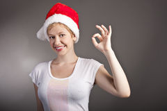Beautiful smiling young womanin Santa Claus hat. Stock Photos