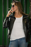 Beautiful smoking girl Stock Photos