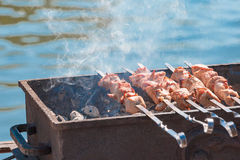 The beautiful smoking shish kebab on a brazier Royalty Free Stock Images