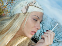 Beautiful smoking woman Royalty Free Stock Photo