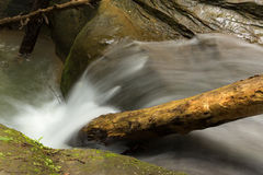 Beautiful smooth flowing stream with a small waterfall Stock Photos