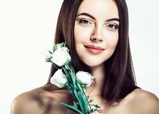 Beautiful smooth hairstyle woman beauty portrait with healthy sk stock photos