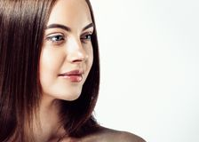 Beautiful smooth hairstyle woman beauty portrait with healthy sk royalty free stock image