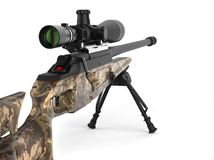 Beautiful sniper rifle with woods camo paint - rear view. Closeup shot Royalty Free Stock Image