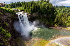 The Beautiful Snoqualmie Waterfall with Rainbow in Mist. Stock Image