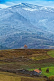 Beautiful snow-capped Carpathian Mountains in late autumn Royalty Free Stock Photos