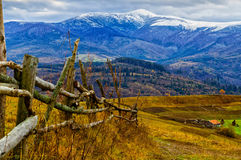 Beautiful snow-capped Carpathian Mountains in late autumn Stock Images