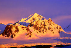 Beautiful snow-capped mountains. At sunset in Antarctica Royalty Free Stock Photography