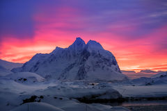 Beautiful snow-capped mountains in Antarctica royalty free stock image