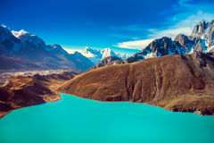 Beautiful snow-capped mountains with lake Stock Photography