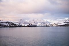 Beautiful snow coverd landscape on a boat to Lofoten. Beautiful snow coverd landscape on a boat ride to Lofoten Island Royalty Free Stock Images