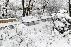 Beautiful snow covered benches in park -Nuremberg, Germany stock photos