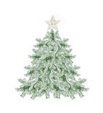 Beautiful snow-covered Christmas tree with a star isolated on white Stock Photos