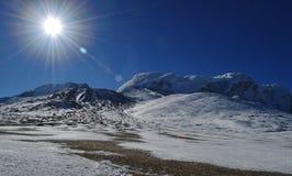 Beautiful snow covered Himalaya sunshine with blue sky,Sikkim,India. Beautifbeautiful snow covered Himalaya sunshine with blue sky on the way to gurudongmar lake royalty free stock photography