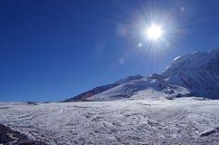 Beautiful snow covered Himalaya sunshine with blue sky sikkim,India. Beautiful snow covered Himalaya sunshine with blue sky on the way to gurudongmar lake stock images