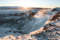 Free Beautiful Snow-covered Icelandic Landscape With Scenic Gullfoss Waterfall And Rocks Stock Image - 120916521