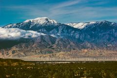 Snow Covered Mount San Jacinto stock photos