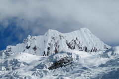 Beautiful snow covered mountain at Santa Cruz trek, Peru stock photo