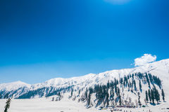 Beautiful  snow covered mountains landscape Kashmir state, India Stock Photo