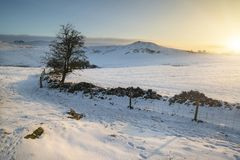 Beautiful snow covered Winter landscape at sunrise in Peak Distr. Snow covered Winter landscape at sunrise in Peak District in England Royalty Free Stock Photography