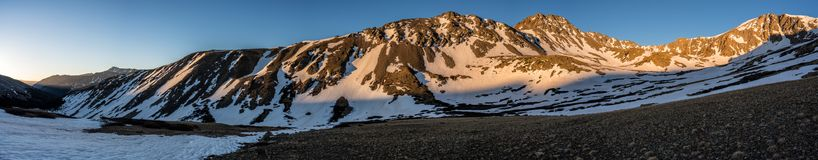View on the hike up to Grizzly Peak A at sunrise, Sawatch Range. Colorado Rocky Mountains. A beautiful snow covered winter summit view. Colorado Rockies royalty free stock images