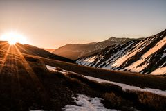 View on the hike up to Grizzly Peak A at sunrise, Sawatch Range. Colorado Rocky Mountains. A beautiful snow covered winter summit view. Colorado Rockies royalty free stock photography