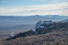 Beautiful Snow Highland Landscape View from the top of Mountain at winter, Russia, Ural Royalty Free Stock Photos