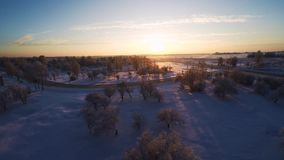 Beautiful snow landscape. Winter trees. Sunset. Aerial footage. Flying around. Beautiful snow landscape. winter trees panorama. Sunset. Aerial view. Fly over stock footage