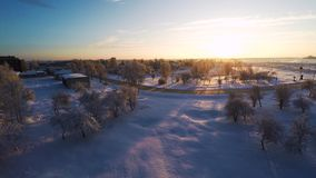 Beautiful snow landscape. Winter trees. Sunset. Aerial footage. Beautiful snow landscape. winter trees panorama. Sunset. Aerial view. Fly over trees covered stock video