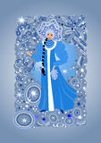 Beautiful snow maiden. Illustration of beautiful snow maiden with background Royalty Free Stock Photo