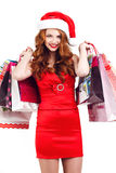 Beautiful Snow Maiden with colored bags Royalty Free Stock Image