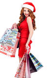 Beautiful Snow Maiden with colored bags royalty free stock photo