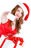 Beautiful Snow Maiden with gift and credit cards Stock Photo