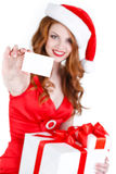 Beautiful Snow Maiden with gift and credit cards Stock Photos