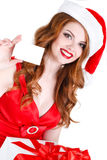Beautiful Snow Maiden with gift and credit cards Royalty Free Stock Photos