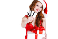 Beautiful Snow Maiden with gift and credit cards Stock Image