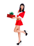 Beautiful snow maiden holds the christmas  box Stock Photos