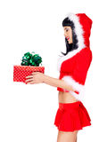 Beautiful snow maiden holds christmas new year gift box Stock Photos