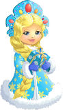 Beautiful Snow Maiden on a white background. With a box of gifts in their hands Stock Photos