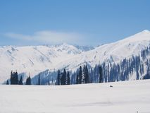 Beautiful Snow Mountain. Sonamarg, Kashmir, India in Winter. Time royalty free stock image