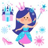 Beautiful snow queen and castle vector collection. Royalty Free Stock Photos