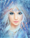 Fantasy Beautiful  fairy woman Snow queen Royalty Free Stock Image