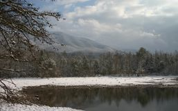 Beautiful Snow Scene. View of Indian Boundary Lake in winter with snow. Smokey mountains Stock Images